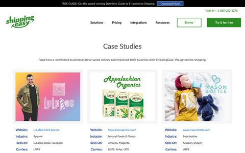 Screenshot of Case Studies Page shippingeasy.com - E-commerce Shipping Case Studies | ShippingEasy - captured Sept. 8, 2018