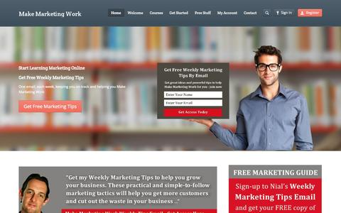 Screenshot of Home Page makemarketingwork.co.uk - Learn Marketing Online with Business Visionary Nial Adams - captured Sept. 30, 2014