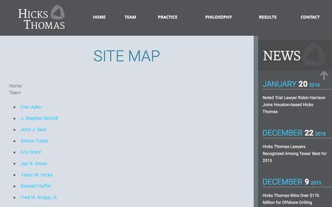 Screenshot of Site Map Page hicks-thomas.com - Site Map | Law Firm in TX & CA - captured Jan. 29, 2016