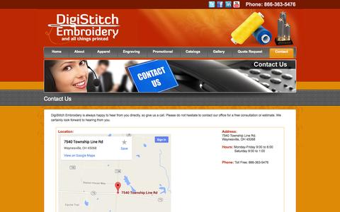 Screenshot of Contact Page Hours Page digistitchemb.com - DigiStitch Embroidery - Contact Us - captured Oct. 23, 2014