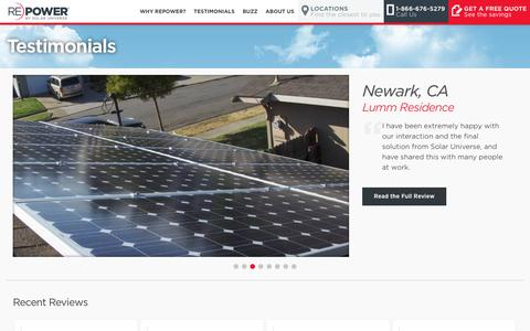 Screenshot of Testimonials Page solaruniverse.com - Testimonials | REPOWER - captured July 3, 2016