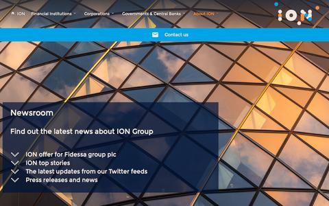 Screenshot of Press Page iongroup.com - News | ION - captured July 25, 2018