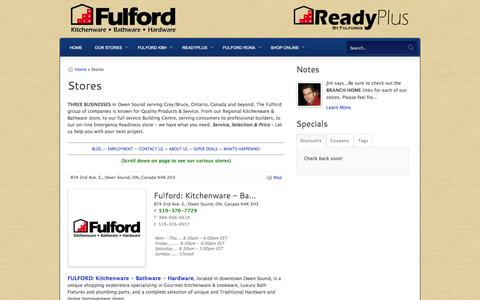 Screenshot of Locations Page fulfords.com - Emergency Preparedness Survival Supplies Canada - captured Oct. 6, 2014