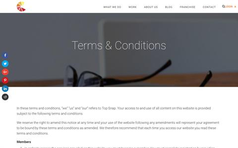 Screenshot of Terms Page topsnap.com - Terms & Conditions - Top Snap - captured Nov. 5, 2017