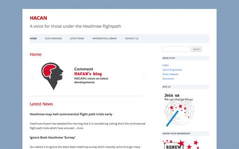 Screenshot of Home Page hacan.org.uk - HACAN | A voice for those under the Heathrow flightpath - captured Sept. 26, 2014