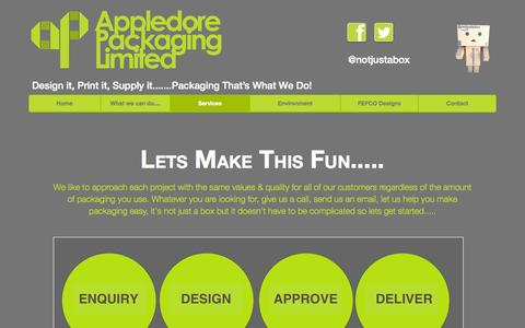 Screenshot of Services Page appledore-packaging.co.uk - Appledore Packaging - Services - captured Oct. 4, 2014