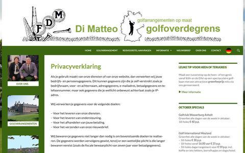 Screenshot of Privacy Page golfoverdegrens.com - Privacyverklaring | Di Matteo golfoverdegrens - captured Oct. 9, 2018