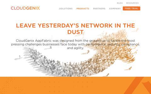 Screenshot of Products Page cloudgenix.com - SD-WAN | CloudGenix | Products - captured Jan. 18, 2018