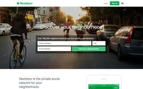 Screenshot of Home Page nextdoor.com - Nextdoor - captured Jan. 7, 2018