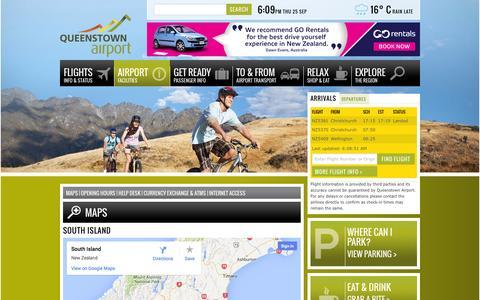 Screenshot of Maps & Directions Page queenstownairport.co.nz - Maps / Queenstown Airport - captured Sept. 25, 2014