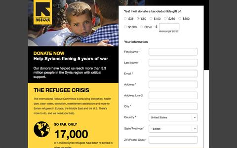 Screenshot of Landing Page rescue.org - Refugee Crisis - Donate Now | International Rescue Committee - captured Oct. 18, 2016
