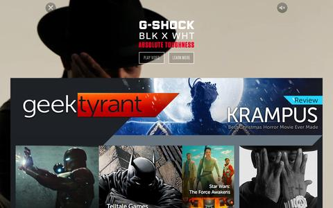 Screenshot of Home Page geektyrant.com - GeekTyrant – Geek Movie and Entertainment News - captured Dec. 4, 2015
