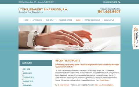 Screenshot of Blog lyonsbeaudryharrison.com - Florida Estate Planning & Real Estate Blog | Lyons, Beaudry & Harrison, P.A. - captured Sept. 30, 2018