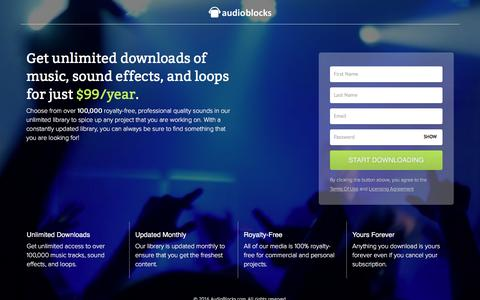 Screenshot of Landing Page audioblocks.com - Stock Music Downloads - AudioBlocks - captured April 16, 2016