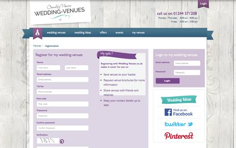 Screenshot of Login Page wedding-venues.co.uk - Register to download wedding venue brochures: Country House Wedding Venues - captured Sept. 25, 2014