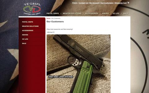 Screenshot of Testimonials Page vzgrips.com - VZ Grips | Our Customers - captured May 27, 2016