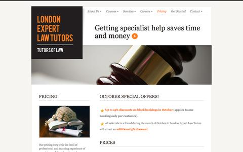Screenshot of Pricing Page london-expert-law-tutors.co.uk - London Expert Law Tutors - Get the Specialist Support you need to succeed - captured Oct. 3, 2014