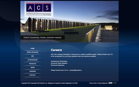 Screenshot of Jobs Page acscad.ie - Architectural Technicians Careers, Steel Detailers Jobs, Engineers job - captured Oct. 5, 2014