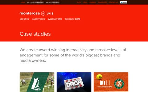 Screenshot of Case Studies Page monterosa.co.uk - Monterosa + LViS / Case Studies / Monterosa + LViS - captured Oct. 26, 2014