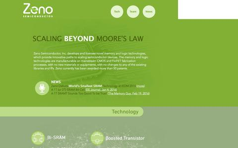 Screenshot of Home Page zenosemi.com - Zeno | Scaling Beyond Moore's Law - captured Feb. 23, 2016