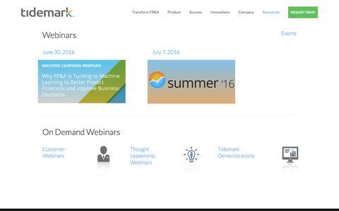 Tidemark Webinars — Tidemark - Corporate Performance Management Software