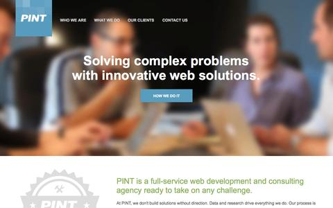 Screenshot of Home Page pint.com - PINT | Advanced web development + technical consulting - captured Jan. 15, 2015