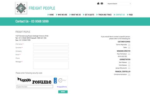 Screenshot of Contact Page freightpeople.com.au - Contact - captured Sept. 30, 2014