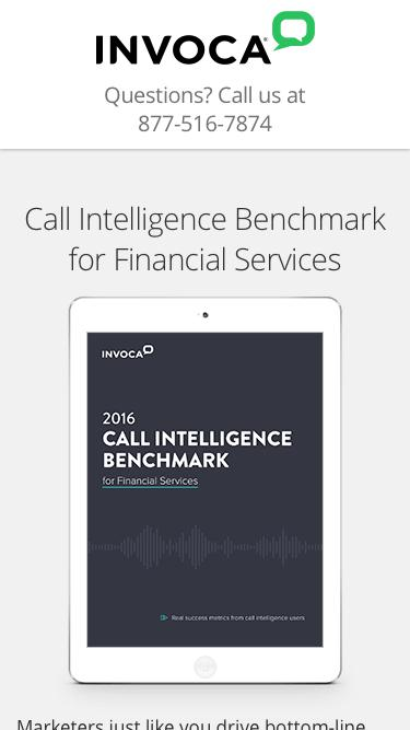 ebook | Call Intelligence Benchmark for Financial Services | Invoca