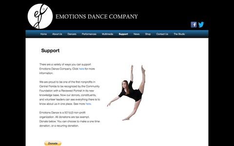 Screenshot of Support Page emotionsdance.org - Support | Emotions Dance - captured March 16, 2016