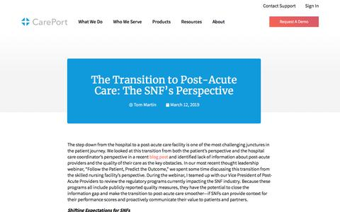 Screenshot of Blog careporthealth.com - The Transition to Post-Acute Care: The SNF's Perspective - Careport Health - captured Feb. 20, 2020