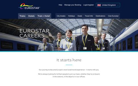 Screenshot of Jobs Page eurostar.com - About Us | Careers - captured July 15, 2018