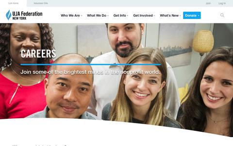 Screenshot of Jobs Page ujafedny.org - UJA-Federation Careers » UJA-Federation of New York - captured Sept. 24, 2018