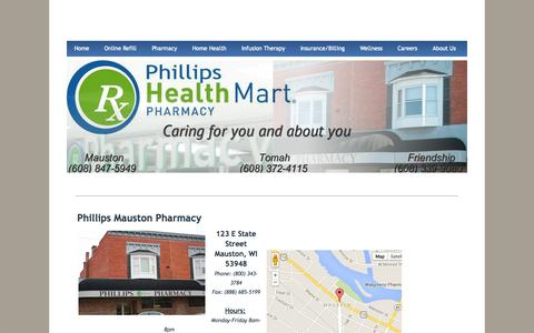 Screenshot of Locations Page phillipsrx.com - Locations - Phillips Health Mart Pharmacy - captured Oct. 2, 2014