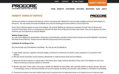 Screenshot of Terms Page procore.com - Procore Website Terms of Service - captured Nov. 2, 2014