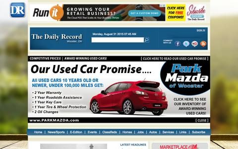 Screenshot of Home Page the-daily-record.com - The Daily Record | Wayne & Holmes news, sports, classifieds - captured Aug. 31, 2015