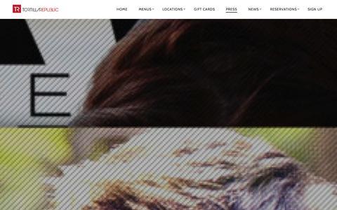 Screenshot of Press Page tortillarepublic.com - PRESS - Tortilla Republic - captured Nov. 4, 2014