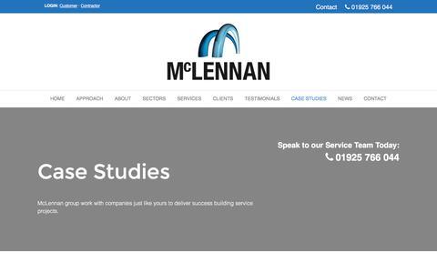 Screenshot of Case Studies Page mc-es.co.uk - McLennan – Building Services Manchester, Large Electrical Contractors - captured Nov. 15, 2016