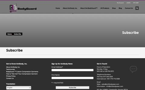 Screenshot of Signup Page antibodywear.com - Subscribe - captured Oct. 4, 2014
