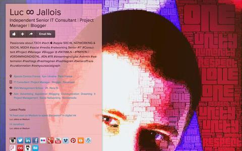 Screenshot of Home Page jallois.com - Luc ∞ Jallois - Ajaccio Corsica France, Kyiv Ukraine, Paris France, IT Consultant | Project Manager | Blogger, Developer, ESG Management School, IPI, Paris 13 | about.me - captured Jan. 23, 2016