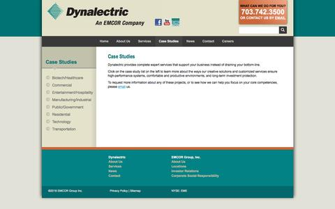 Screenshot of Case Studies Page dynalectric-dc.com - Case Studies :: Dynalectric DC - captured Feb. 8, 2018
