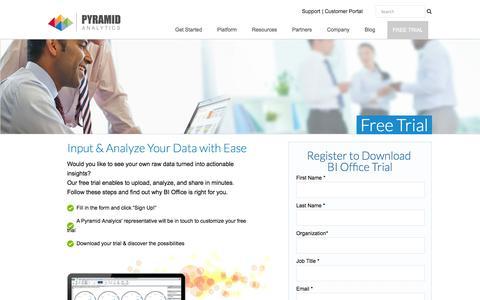 Screenshot of Trial Page pyramidanalytics.com - Trial Download | Pyramid Analytics - captured Oct. 28, 2014