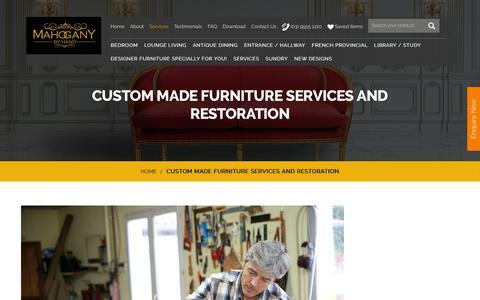 Screenshot of Services Page mahoganybyhand.com.au - Custom furniture finishes antique restoration - captured Oct. 31, 2018