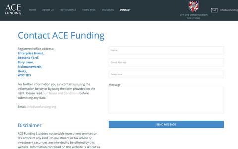 Screenshot of Contact Page acefunding.org - Contact ACE Funding - ACE Funding Contact us   ACE Funding Ltd - captured Oct. 2, 2018