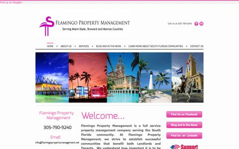 Screenshot of Home Page flamingopropertymanagement.net - Flamingo Property Management - Flamingo Property Management is a full service Property Management company serving the South Florida Market. - captured Sept. 26, 2014