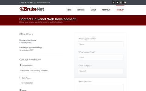 Screenshot of Contact Page brukenet.com - Brukenet Web Design - captured Oct. 10, 2019