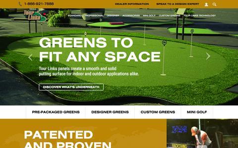Screenshot of Home Page tourlinks.net - Indoor/Outdoor Putting Greens - Tour Links - captured Aug. 15, 2015