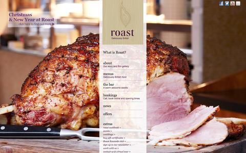 Screenshot of Home Page roast-restaurant.com - Roast Restaurant - Top London Bridge Restaurant - captured Oct. 7, 2014