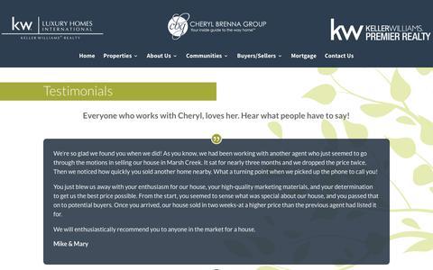 Screenshot of Testimonials Page cherylbrennagroup.com - Testimonials - Cheryl Brenna Group - captured July 3, 2018
