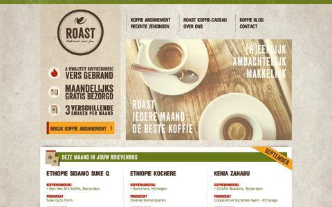 Screenshot of Home Page roast.nl - Vers gebrand, maandelijks drie smaken thuisbezorgd - Roast - captured Sept. 30, 2014