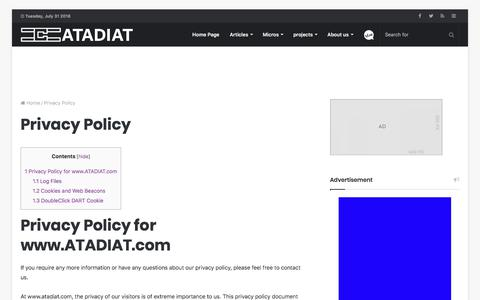 Screenshot of Privacy Page atadiat.com - Atadiat - Privacy Policy - captured July 31, 2018